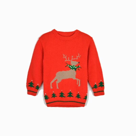 Vintage Children's Tacky Christmas Sweater / 50s 60s Red Reindeer Sweater / Children's Sweater - Girl's Large