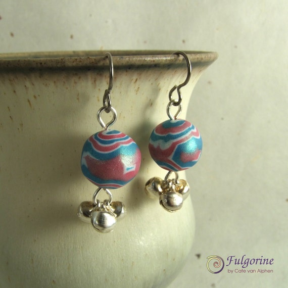 Pink and blue polymer clay bead and bell earrings on hypoallergenic hooks
