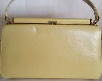 Vintage bright yellow leather handbag by Melbourne bags