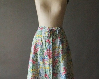 Vintage 70's White, Blue, Yellow, Green, Red and Pink Cotton Floral Pleated Button Up Skirt by Robinsons