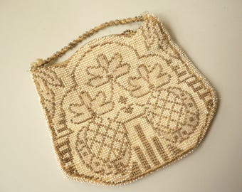 1920's Antique Vintage Ivory Mini Beaded Pineapple Embroidered Mini Bag Clutch Purse