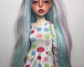 6-7 7-8 alpaca wig very long - pastel teal pink - iplehouse JID / doll chateau kid / minifee