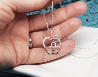 Monogram Apple for Teacher Necklace in Sterling Silver or Yellow Gold Filled
