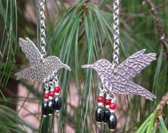 Hummingbird Earrings-Sterling-Hematite and Coral