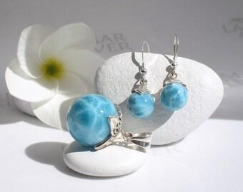 AAA Larimar set by Larimarandsilver, Caribbean Carnival 8 - sea blue Larimar balls, turtleback, blue pearl handmade Larimar pendant earring