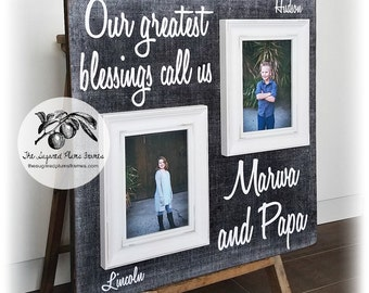 Grandma Gift, Grandparents Picture Frame, Our Greatest Blessings Call Us, 20x20 The Sugared Plums Frames
