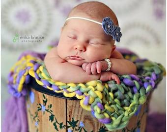 READY TO SHIP, Dusty Blue Felt Flower Headband, Shabby Headband, Newborn, Dainty Headband, First Birthday, Smash Cake, Sitter Photo Prop