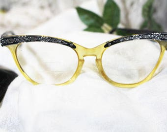 Vintage Cat Eye Glasses in Black and Silver with case -  T
