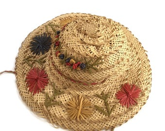 Vintage Girl's Straw Hat with Raffia Flowers and Chin Strap