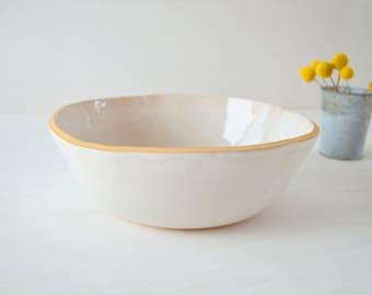 Ceramic Fruit Bowl, Large White Bowl, Handmade Salad Bowl, Stoneware Bowl