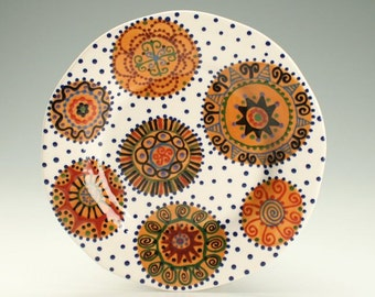 "Ceramic Rim Plate, 9"" Pottery Plate, Earth Tones Platter, Personal Plate, Small Serving Platter, Medallion Pattern Dinnerware"