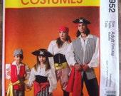 Misses and Mens Pirate Costumes Sizes S M L XL McCalls Pattern M4952 UNCUT