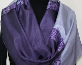 Hand Painted Silk Shawl. Lavender, Aubergine Handpainted Silk Scarf MOON CATCHER. Large 14x72. Silk Scarves Colorado. Birthday Gift.