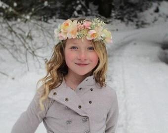 Yellow and blush headband, Ready to ship, pink and yellow tieback,halo headband,flower girl headband,bridal headband,flower crown