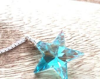 Handmade Necklace - Swarovski Necklace - Swarovski Crystal Necklace - Strass Swarovski - Antique Green - Sterling Silver Necklace - Star