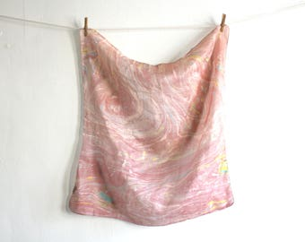 Dusty Rose Marble Silk Scarf