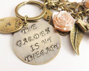 Personalized Gardener Keychain, Initial Keychains, Flower Keyring, Garden Bag Charm, Handstamped Gift For Her, Birds, Butterflies