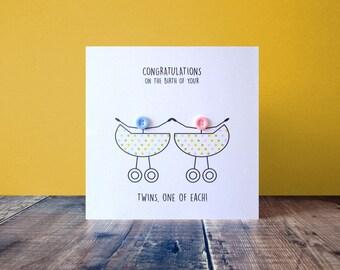 Newborn Twins Congratulations Card