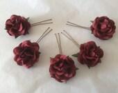 Hair Pins  x 5 Paper Roses. Dark Red/Wine. Bridal, Regency, Victorian.