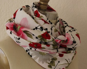 Floral Print Satiny Oblong Scarf, Extra Large