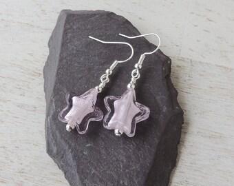Pink Star Earrings, Glass Star Earrings, Beaded Earrings, Star Jewellery, Pink Jewellery, UK, 2138
