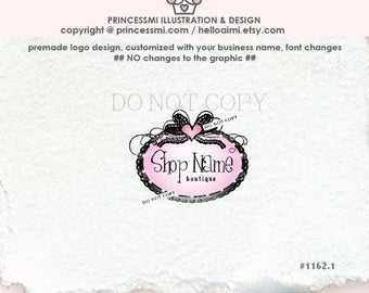 1162-1  boutique logo, frame logo, Lace bow, fancy , elegant logo design, photography business,  boutique logo, watermark, frame