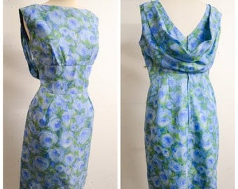 1960s Sky blue rose print fitted cowl back dress / 60s printed nylon cocktail dress - M