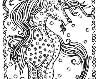 Unicorn Instant Download Fantasy Coloring Pages Adult Books Art