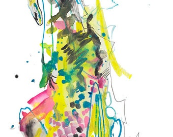 "Original Abstract Watercolor Figure Painting featuring Bright Colorful Dancer Illustration, 9"" x 12"" - A27"