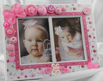 Children's Pink Flower Patterned Double Button Picture Frame, Holiday, Baby, Children's Gift
