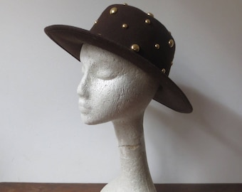 Vintage '80s Chocolate Brown Felt, Gold Studded Spanish-Style Western Commodore Hat