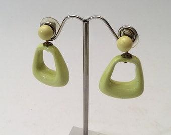 60's Earrings Yellow Green Citrine Color, Retro, funk, Mid-Century Modern Post Stud, Mod