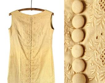 1960s Backless Embroidered Tunic Shirt / Mini Dress in Mustard Yellow - Small / Medium