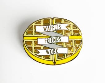 Waffles Friends Work Enamel Pin - Leslie Knope Pin