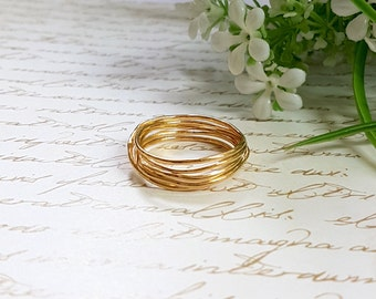 Gold Wire Ring, Wire Wrapped Ring, Unique Gold Wedding Band, Gold Ring, Wire Wrapped Jewelry, Infinity Ring, Minimalist Ring, Nest Ring