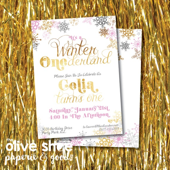 Winter Onederland Birthday Party Invitation | Gold | Boy or Girl | Custom Order | Printable or Printed | Front and Back | Snowflake | Snow