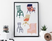 Vintage Chairs Print, Illustrated Furniture, Art Gift, Art, Home Decor - 8 x 11 Print