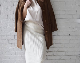 1960s Suede Coat with Mink Collar | Size S-M