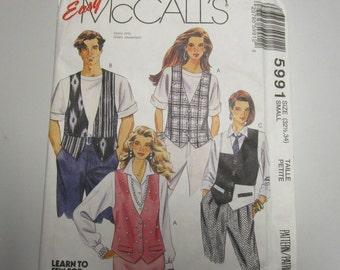 McCalls 5991, Size 32 1/2, 34, UNCUT Misses, Boys or Teens Vests