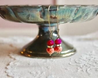 Bright pink, rhinestone, and tangerine orange bead drop earrings, kidney wire earrings