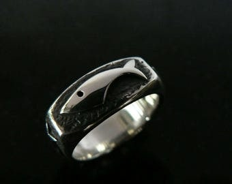 Mens Silver Fish Ring Motif Sterling Silver Pisces