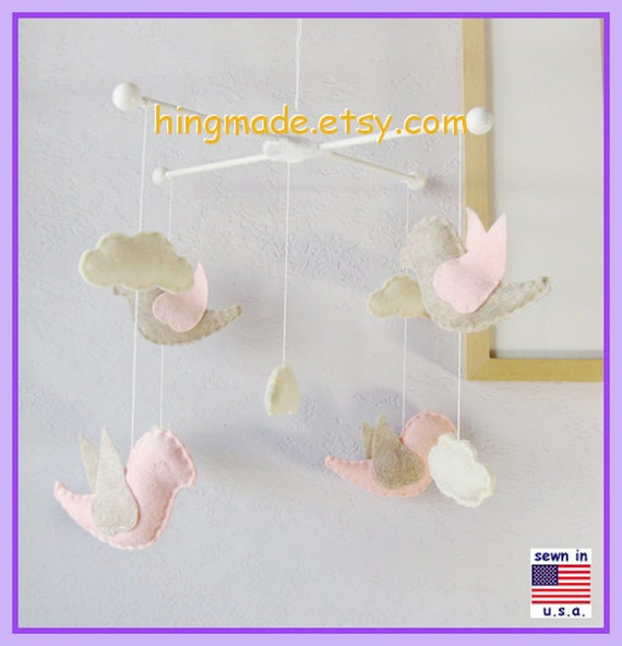 Baby Mobile, Baby Crib Mobile, Pink Nursery Decor, Ivory and Pink Birds Mobile, Ceiling Hanging Mobile, Match Bedding Mobile
