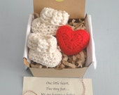 Pregnancy Announcement,  Pregnancy Reveal, Grandparents, Daddy,  BOOTIES IN A BOX®, Baby Booties and Puffy Heart, Baby Shower Gift, New Baby