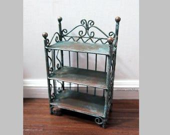 Copper patina bookshelf or plant shelf - dollhouse miniature