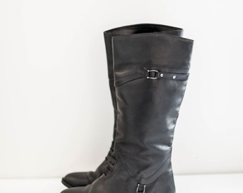 black leather buckle riding boots - fashion boots - high calf - women's size 8.5