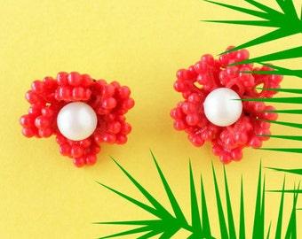 Red coral earrings clip on earrings, faux coral jewelry vintage 1950s earrings, summer earrings, clip on pearl earrings, rockabilly jewelry