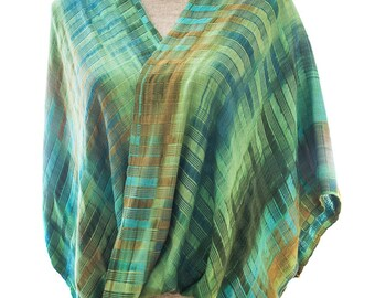 Jade Organic Bamboo Mobius Shawl with Turquoise and Olive