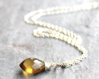 Honey Quartz Necklace Pointed Faceted Briolette Sterling Silver Pendant Necklace Gemstone