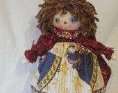 Primitive Rag cloth doll, Patrotic Americana July 4th cloth doll, red white and blue rag doll, 18 inch hand made patriotic cloth art doll
