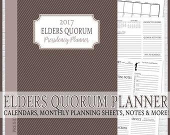 2017 EQ Presidency Planner, LDS Elders Quorum, Priesthood Planner, LDS Planner - Printable Instant Download